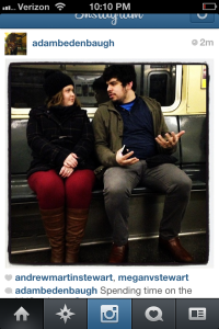 lovebirds on a subway...stolen from Adam's instagram feed!