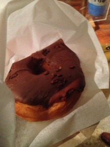 a doughnut by Dough - chocolate with cacao nibs. Massive and marvelous!