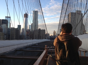 the Brooklyn Bridge - my favorite part of the trip. This handsome man captured some great footage and paid homage to the Atlantic by dropping his lens cap through the wooden boardwalk