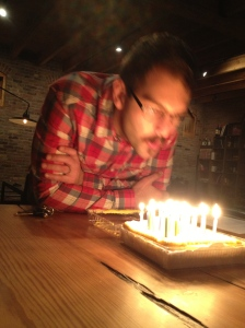 Adam blowing out his 30 candles! Did you make a wish?